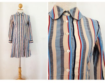 60s Vintage Blue Stripe Long Sleeves Shirt Dress Hippie Day Casual S
