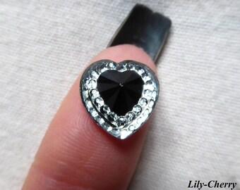 Cabochon 12mm heart silver rhinestone black diamond x 1