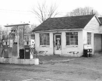 Bill's Service Station - Original Black & White Photography Print, Wall Decor 8 1/2 X 11