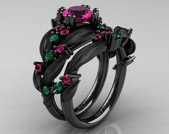 Nature Classic 14K Black Gold 1.0 Ct Pink Sapphire Emerald Leaf and Vine Engagement Ring Wedding Band Set R340SS-14KBGEMPS