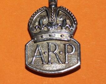 Collectible Sterling Silver (ARP) Air Raid Precaution Button Hole Lapel Badge 1936