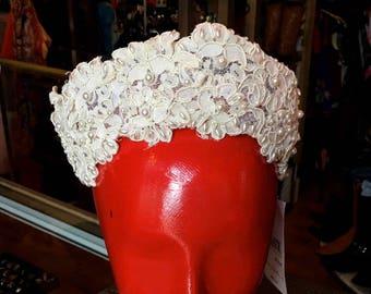 Vintage Bridal Wreath Off-White Cream Floral Wedding Headpiece Pearl Vine Tiara