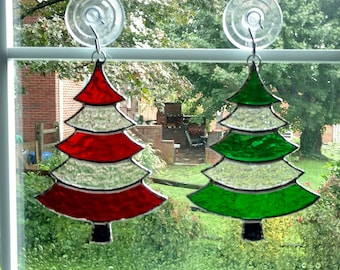Stained Glass Christmas Tree Suncatcher, Red and Green Glass, Christmas Tree Ornament, Holiday Decor, Christmas Gift, Stocking Stuffer