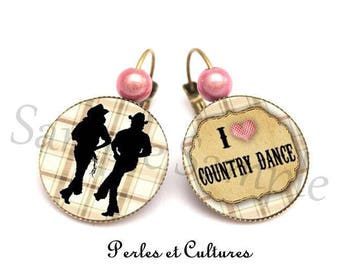 Ring I love Country Dance cabochon heart pink brown black trendy gift idea