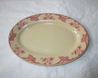 "Shenango China Restaurant Ware 9-5/8"" Oval Relish Platter IncaWare RimRol SHO25 (c. 1940s)"