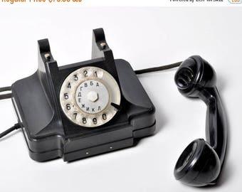 ON SALE Rotary Phone, Working telephone ,Rotary dial Phone, Soviet Phone ,Black Phone, Vintage Phone, telephone 50s