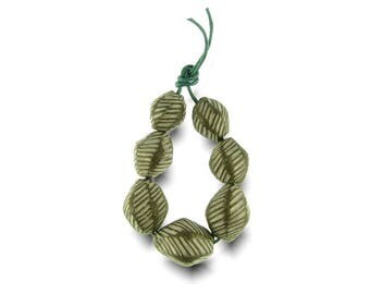 Seed Pod Beads Artisan Bead Set Handmade in South Africa, Balelaceramics