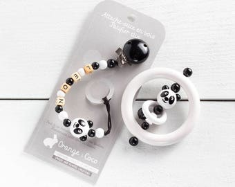 Baby gift set, panda, Pacifier clip, teething toy wooden teether, beaded pacifier clip, bead pacifier clip, baby boy gift, monochrome gift