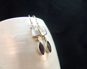 White Moonstone & Iolite Sterling Silver Drop Earrings