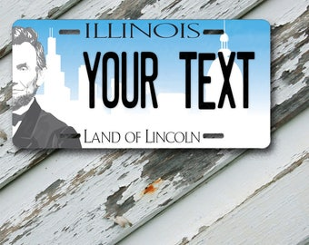 "License Plate Illinois Wave 2 Land of Lincoln State Customizable 6"" x 12""  Aluminum Vanity License Plate"