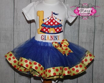 Carnival, Circus, Under the Big Top Birthday Ribbon Trimmed Tutu, Shirt and Bow Set  Primary Colors