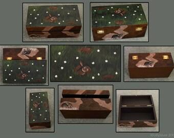 Rabbit Warren Wooden Box - Hand Painted Wild Rabbit Design