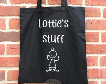 Personalised baby stuff tote bag, great baby shower gift or mother's day gift for a mummy to be. Funny baby tote, parent tote or parent bag