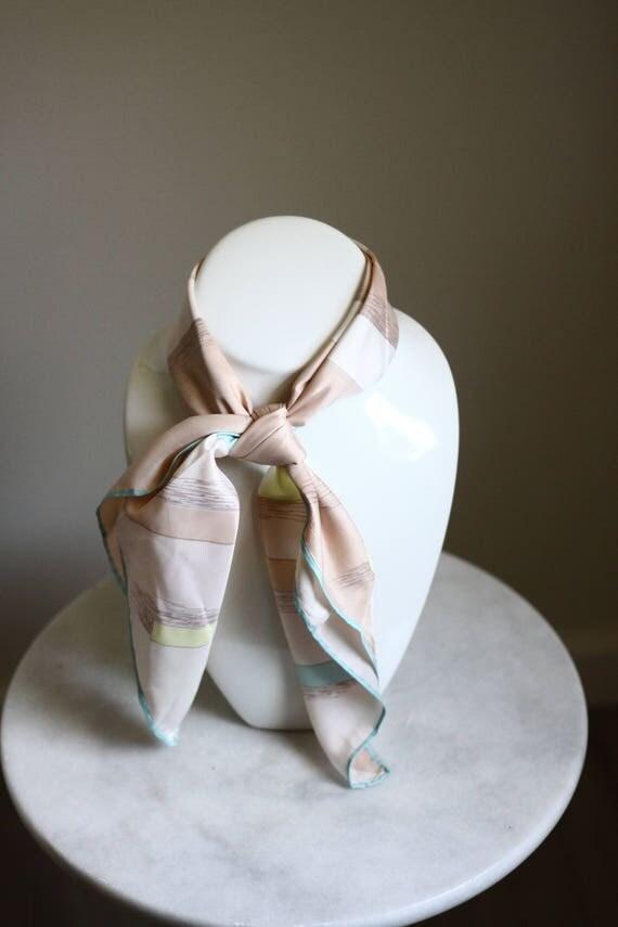 1980s colour block scarf // vintage neck scarf // vintage purse scarf