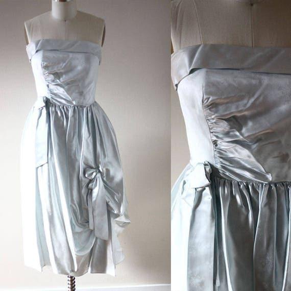 1980s ice blue strapless dress // 1980s party dress // vintage dress