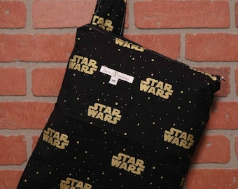 Cloth Diaper Wetbag, Star Wars, Diaper Pail Liner, Diaper Bag, Day Care Size, Holds 5 Diapers, Size Medium with Handle item #M79