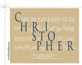 Personalized Gift From Godparents Baptism Keepsake Godchild Gifts Religious Baby Gift Dedication Gifts Christian Name Poem 8x10 Christopher