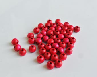 set of 50 6mm pink wooden beads