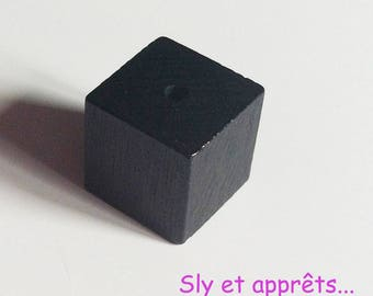 5 beads 14mm black wooden cube