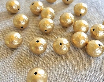 22K Gold Plated Copper Bead, Hammered Gold Beads, 12mm, 6pcs