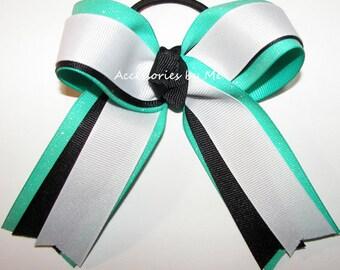 Sparkly Gymnastics Bow, Cheer Ribbon Bow, White Black Aqua Blue Glitter Ribbons Elastics, Sea Teal Green Blue Dance Bows, Bulk Cheap Price
