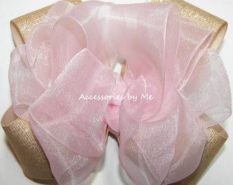 Pink Gold Bow, Sparkly Glittery Clip, Light Pink Gold Hair Clips, Baby Pink Gold Hair Band Headbands, Birthday Blush Pink Gold Bow Barrettes