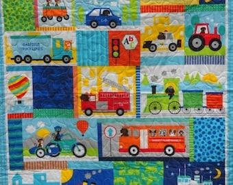 ON SALE Baby Boy Vehicle Crib Bedding Boy Nursery Vehicle Theme Nursery Trucks Bus Airplane Quilt Vehicle Theme Baby Shower Vehi