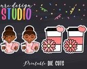 SALE Planner Die Cuts Printable, Planner Girl Die Cuts, Coffee Die Cuts, African American Girl, Scrapbook Die Cuts - Planner Accessories