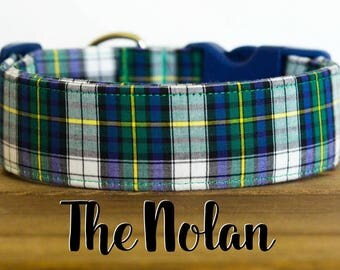 "Navy, Green, Yellow & White Plaid Dog Collar ""The Nolan"""