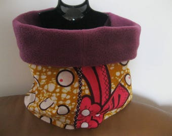 "snood/around the neck for girl - fleece and fabric - pattern ""flora"""