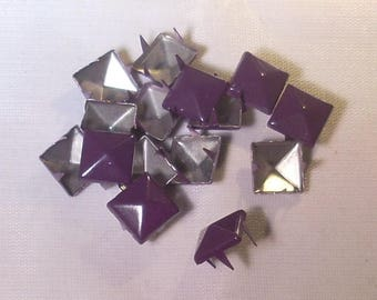 15 square nail claw metal purple 10x10mm faceted
