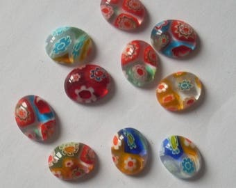 Set of 10 oval 10mm millefiori glass cabochons
