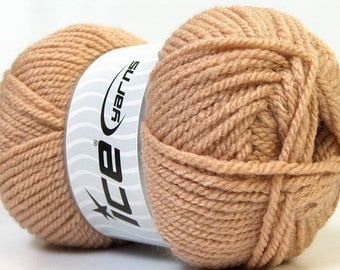Set of 4 skeins of 100grs (130 m) wool camel color acrylic
