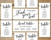 Printable Seating Chart Wedding, Seating Chart Cards // Editable Seating Chart Template // DIY Seating Chart Cards for Picture Frame Collage
