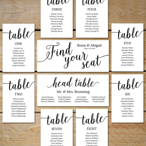 Printable Seating Chart Wedding, Seating Chart Cards // Editable Seating  Chart Template // DIY Seating Chart Cards For Picture Frame Collage  Printable Seating Charts