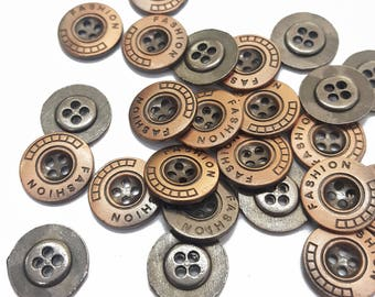 Round Metal Cover Sewing Buttons, Copper Bronze 4 Holes Sewing Buttons
