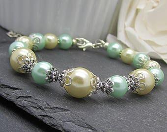 Pastel Bridesmaid Bracelet, Mint and Yellow Weddings, Pastel Bridal Sets, Pearl Bracelet, Spring Weddings, Mint and Lemon, Bridesmaid Gifts