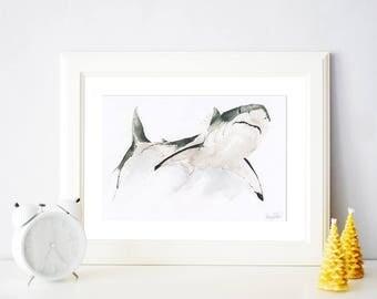 Great White Shark Watercolour A4 Wall Art Print // Animal Art // Art Print // Sea Art // shark decor // Digital Print // Home Decor