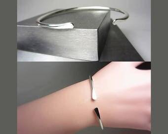 925 Sterling Silver Cuff Bracelet Stacking Bracelet Open Bangle Bracelet Minimalist Bracelet Boho Jewelry Adjustable Bracelet Gift for Her