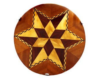 "Vintage Marquetry Lazy Susan - Exotic Wood Drink Tray - 1950s Wood Platter - Serving Tray - 6 Point Star - 15"" Wooden Server - MCM Barware"