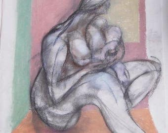 Celebrating Motherhood Painting by Diane Knopf Mother and Child, Cradling Nursing Infant Conte, Chalk, Pastel Impressionist Painting
