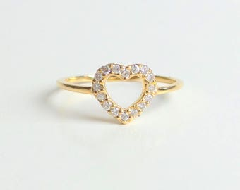 Heart Ring 14k Yellow Gold 0.20ct SI1 G Color/ Diamond Heart Ring/ Delicate Heart Ring/ Dainty Heart Ring/ Dainty Diamond Ring/ Mini Heart