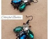 ON SALE butterfly earrings, insect dangle crystal jewelry, romantic earrings, boho chic, black, blue dangle, bug earrings, bohemian earrings
