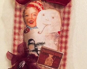 1 LARGE Xmas Gift Tag,Christmas Gift Tags, Poinsettia Gift Tag,French Christmas Tag, Holiday,Tag, Mixed Media Tag, Vintage Style Gift Tag