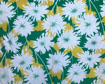 Vintage 1960s 1970s Yellow Green White Floral Fabric Retro Modern Slinky Polyester 4+ YDS