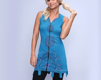Tunic dress - cotton dress - mini dress - boho dress - blue - zipper