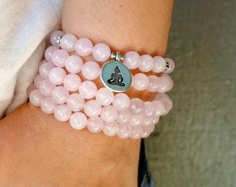 108 Mala Bead, Mala Bracelet, Mala Bead, Meditation Prayer Bead, Rose Quartz Natural Stone Bracelet, Yoga Bracelet, Japa Mala,Mantra Bead