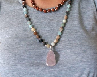 Hand Knotted 108 Mala Bead, Pendant Necklace, Mala Necklace, Pendant Bead Necklace, Bohemian Jewelry, Mala Bead Necklace, Wood Bead Necklace