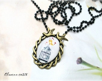 Vintage bird cage OLWENN CO378 style necklace