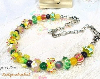 Necklace creation handmade JENNY CO454 yellow lampwork glass beads